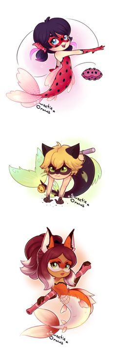 Bettabug, Chatfish and Rena-fiushe, Miraculous: Tales Of Ladybug And Cat Noir Ladybug E Catnoir, Ladybug Und Cat Noir, Ladybug Comics, Miraculous Ladybug Wallpaper, Miraculous Ladybug Fan Art, Disney Drawings, Cute Drawings, Chibi Kawaii, Chibi Cat