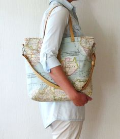 World Map Tote, Canvas Bag, World Map Bag, Messenger bag, Travel Bag, Large purse, Limited edition, Summer bag, Shoulder Bag, Satchel