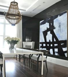 Large Abstract Art, Handmade Painting Minimalist Art, Abstract Painting On Canvas, Geometric Art. - Celine Ziang Art (Cool Paintings On Canvas) Black And White Painting, Black White Art, Minimalist Painting, Minimalist Art, Decoration, Art Decor, Home Decor, Cuadros Diy, Cool Paintings