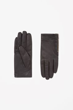 COS Zip leather gloves in Black
