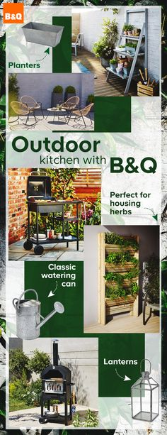 Create your perfect outdoor kitchen with B&Q! Whether it's growing your own herbs and vegetables, dining al fresco with our NEW Maipo Pizza Oven or serving beautiful buffets with our NEW Rockwell BBQ range, having a kitchen garden has never been easier.