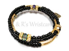 Black and Gold Beaded Coil Bracelet by RandRsWristCandy on Etsy, $6.00 #etsy #flashsale only until midnight 7/23