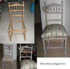 restauro di una sedia in stile shabby