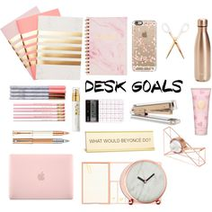 Desk Goals by ahriraine on Polyvore featuring interior, interiors, interior design, home, home decor, interior decorating, S'well, StudioSarah, Kate Spade and He Said, She Said