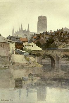 Cotman, Frederick George (1850-1920) - Modern British Water-colour Drawings1900, Durham Cathedral and the Elvet Bridge. #england