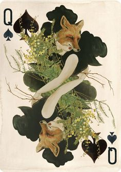 Queen of Spades Fox playing card from the Pagan Deck by Linnea Gits.
