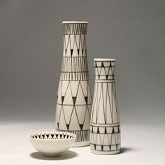 Brita Heilimo; Glazed Ceramic Vessels for Arabia, c1960.