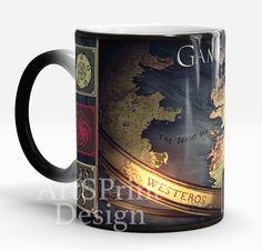 Game of Thrones Mug, Map of Westeros Mug, Color Changing Mug, Funny Coffee Mug