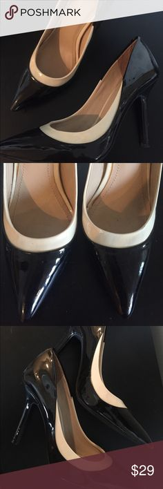 BCBG Generation Color Block Heels Black heels with a white trim, only worn a few times! Patent leather and super shiny, the perfect work heel! 👠💋 BCBGeneration Shoes Heels