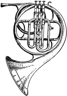 Good Illustrations and free files. Horn Instruments, Musical Instruments Drawing, Music Collage, Music Artwork, Tattoo Musica, Brass Instrument, Inka, Music Drawings, Music Crafts