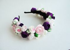 Wedding flowers. Flowers headband. Handmade. All flowers are made completely by hand from Claycraft by deco - air dry clay that is soft, durable and lightweight, non toxic. Keep it up from water or liquids. The flowers requires careful handling.