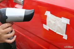 How to Remove a Dent in Car With a Hair Dryer. Removing a dent from your car can sometimes be quite costly, especially if you take your car to an auto body repair shop. However, as an alternative you can repair and remove some kinds of. Car Cleaning Hacks, Car Hacks, Auto Body Repair Shops, Car Repair, Vehicle Repair, Bumper Repair, Handy Gadgets, Car Care Tips, Car Fix