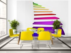 """Availability: on order Resistant, water-rejecting and scratch-proof fleece wallpaper """"Colorful stairs"""". Wallpaper """"Colorful stairs"""" with the inspiring motive will be an effective eye-catch for each interior."""