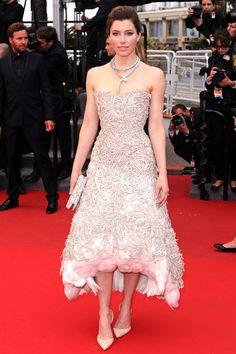 Jessica Biel // Cannes Film Festival 2013, Inside Llewyn Davis premiere // Marchesa dress