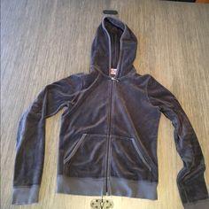 Juicy velour sweatshirt Gently used juicy zip up! Cute and cozy! Juicy Couture Tops Sweatshirts & Hoodies