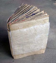 making a journal out of used grocery bags