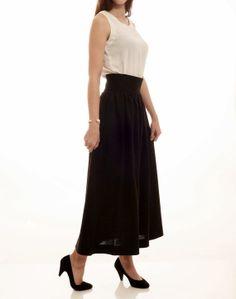 70's vintage high waist black maxi skirt M L