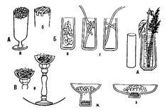Закрепление стеблей в вазах: А — прозрачных; Б — непрозрачных; В — держатели; а — мятая проволока в верхней части вазы; б — верх вазы перепл...