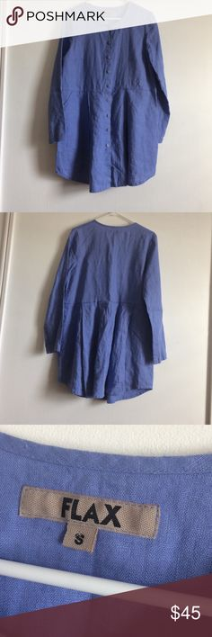 Flax periwinkle shirt/dress Excellent condition. Pretty periwinkle color. Linen. Button front with pockets Flax Tops Tunics