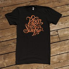 Shirt design focused on text. Simple, single color with a balanced flourish.