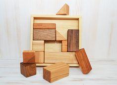 Wooden building blocks Wood blocks Geometric by DimoklWoodenToys