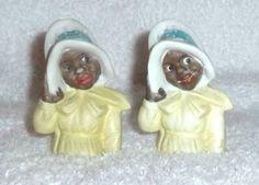 Vintage-Black-Americana-Mammy-Lady-GERMANY-Bonnet-Salt-and-Pepper-Shakers-RARE