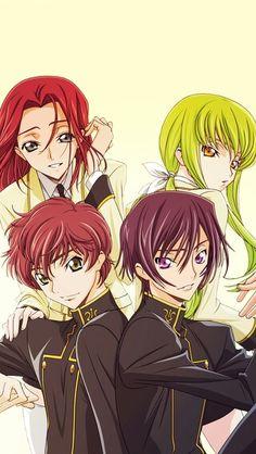 Lelouch, CC, Kallen, and Suzaku