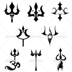 Hindu Religious Sign Trishul - Vector Designs Pack - Religion Conceptual