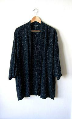 Black Patterned Rayon 80's Cardigan by SecretShopVintage on Etsy