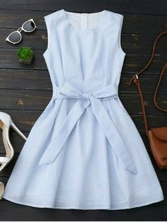 Sleeveless Striped Bowknot Dress - Blue Stripe S Cute Dresses, Casual Dresses, Casual Outfits, Fashion Dresses, Cute Outfits, Summer Dresses, Casual Clothes, Basic Clothes, Preppy Dresses