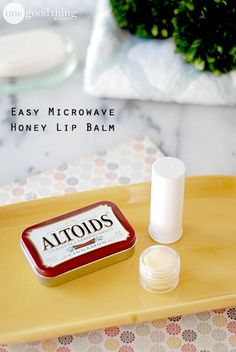 Honey Lip Balm      1/2 cup sweet almond oil     1/4 cup beeswax     1 Tbsp. honey      25 drops EO (optional)  She said this would make about 25 tubes so cut the recipe in half.