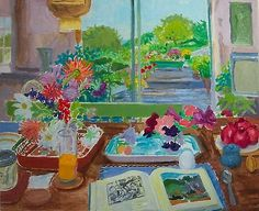 "urgetocreate: ""Nell Blaine, Summer Interior with Book, 1986 """