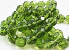 6mm Olivine Czech Fire Polished Rounds Faceted by AlaModeBeads
