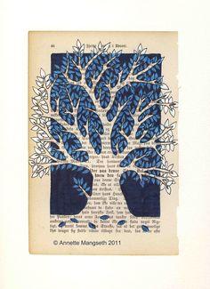 Illustration originale d'arbre Oriental bleu. par carambatack