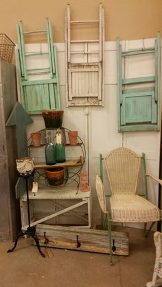 Ok ding chairs as art at our booth at the Vintage Market Days show in Kerrville.