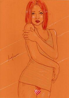 Original #1544 Lanestre - Aktzeichnug - Erotik Zeichnung Nude Akt Art Drawing