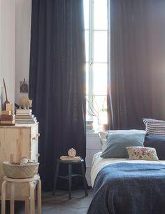 wonderful scandinavian bedroom design ideas page 23 Modern Scandinavian Interior, Scandinavian Bedroom, Living Room Art, Home And Living, Blue Bedroom, Bedroom Decor, Bedroom Curtains, Apartment Nursery, Ikea