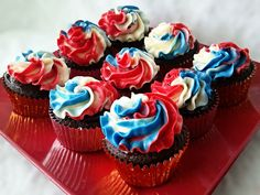 We are going to a BBQ tonight. So I made some patriotic red, white and blue cupcakes. Chocolate cupcakes dipped in dark chocolate ganache. Blue Cupcakes, Birthday Cupcakes, Mini Cupcakes, Cupcake Cakes, Cup Cakes, Best Chocolate, Chocolate Cupcakes, World's Best Food, Good Food