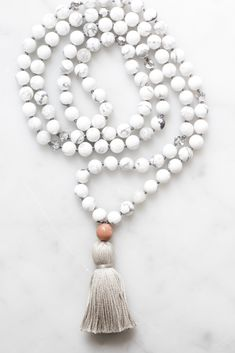 Our Calm Mala Necklace uses beautiful Howlite gemstone beads and Czech crystals. A modern remake of traditional mala beads. Handmade in Vancouver, Canada. Diamond Choker Necklace, Cluster Necklace, Moon Necklace, Diy Necklace, Necklace Designs, Necklace Ideas, Necklace Chain, Pearl Necklace, Chakras