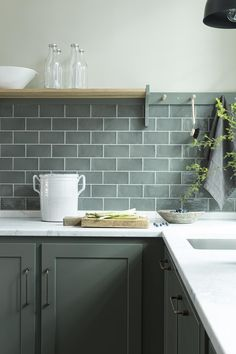 Are you looking for some unusual yet catchy and attractive kitchen design? Then why don't you opt for a green kitchen? The idea of green kit. Green Kitchen Inspiration, Kitchen Shelves, Kitchen Cabinets, Kitchen Hoods, Kitchen Wall Tiles, Kitchen Cupboard, Kitchen Paint, Cupboards, New Kitchen