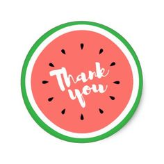 thank you calligraphy watermelon cute summer classic round sticker - thank you gifts ideas diy thankyou