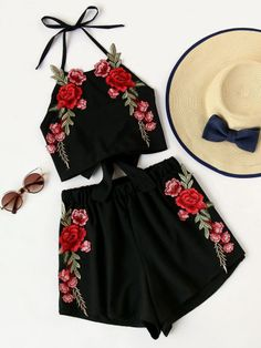 Rose Embroidery Bow Tie Open Back Top And Shorts Set