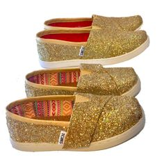 Kids Toddlers Girls Sparkly Glitter Tiny Toms Flats shoes Pale Gold www. glittershoeco.com. Glitter Shoe Co 6b8992f1b