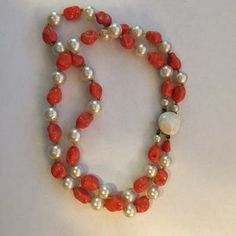 Vintage Jewelry - Vintage faux coral and glass pearl necklace