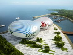Image 3 of 8 from gallery of Busan Opera House Proposal / Peter Ruge Architekten. Courtesy of Peter Ruge Architekten Futuristic City, Futuristic Architecture, Beautiful Architecture, Landscape Architecture, Landscape Design, Architecture Design, Futuristic Houses, Unique Buildings, Interesting Buildings