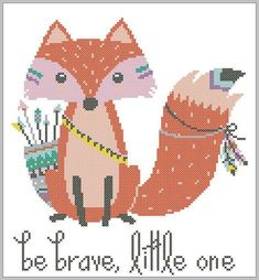 BOGO FREE Fox cross stitch pattern Baby Animal Be brave