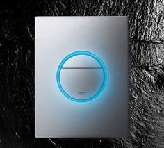 Nova light from Grohe is a unique kinda LED light switch that ensures an addition to your ultra modern home decor. An appealing circle set within the rectangular panel glows with an eye-catching light giving a beautiful, futuristic twist to. Modern Light Switches, Light Switches And Sockets, Led Light Switch, Light Switch Covers, Inspiration Design, Design Ideas, Ultra Modern Homes, Home Technology, Home Automation