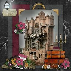 Disney Scrapbook Page Layout - Hollywood Studios Tower of Terror by Kelly Barnes