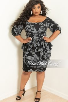 84049f1a2b New Plus Size Off the Shoulder Peplum BodyCon Dress with Attached Tie in  Black and White Print
