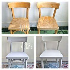 Paire de chaises Baumann pour enfant restaurées par mes soins sur www.retourdechine.fr